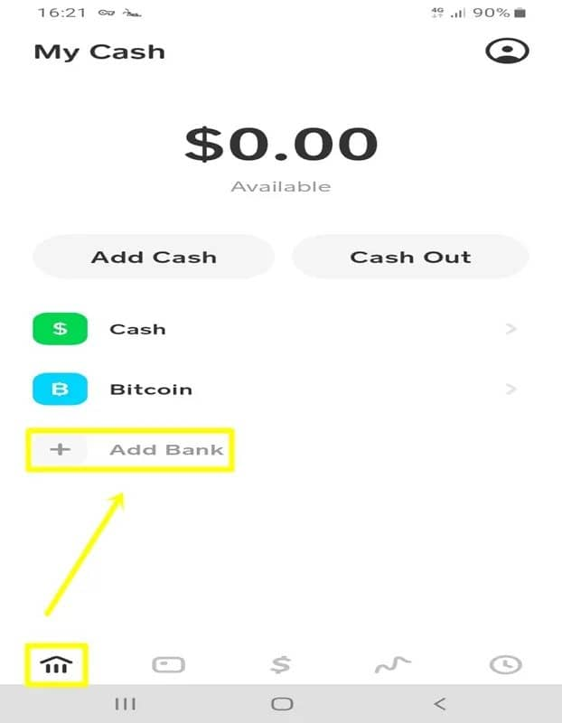 add bank to cash app